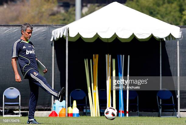 Real Madrid coach Jose Mourinho in action during a training session on July 30 2010 in Los Angeles California