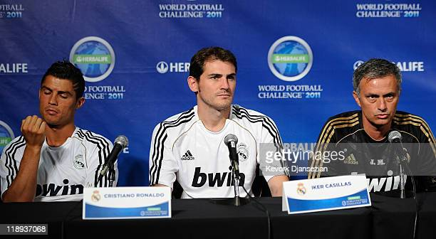 Real Madrid coach Jose Mourinho players Cristiano Ronaldo and goalkeeper Iker Casillas during a news conference to announce the Herbalife World...