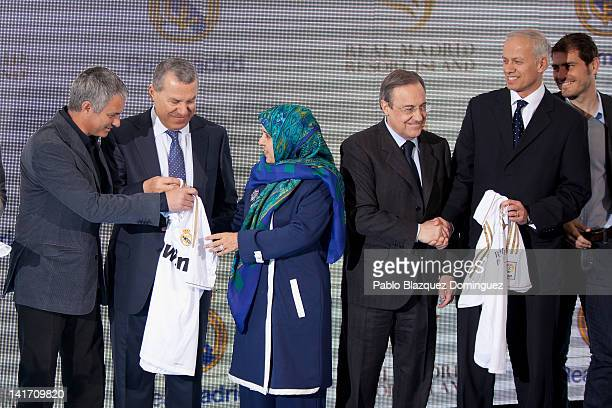 Real Madrid coach Jose Mourinho Representative of the government of the United Arab Emirates Khater Massaad United Arab Emirates ambassador Hissa...