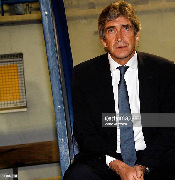 Real Madrid coach Manuel Pellegrini looks on before the Copa del Rey match between AD Alcorcon and Real Madrid at Municipal de Santo Domingo on...