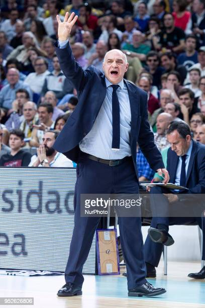 Real Madrid coach Pablo Laso reacts during the Turkish Airlines Euroleague Play Offs Game 4 between Real Madrid v Panathinaikos Superfoods Athens at...