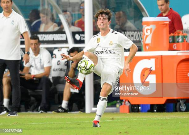 Real Madrid defender Achraf Hakimi punts the ball during the International Champions Cup soccer game between the Real Madrid and the Manchester...