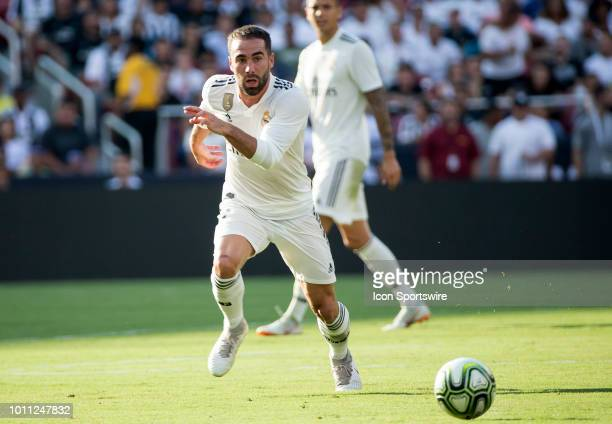 Real Madrid defender Daniel Carvajal chases down a long pass during an International Champions Cup match between Juventus and Real Madrid on August 4...