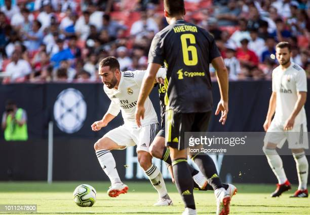 Real Madrid defender Daniel Carvajal controls the ball during an International Champions Cup match between Juventus and Real Madrid on August 4 at...