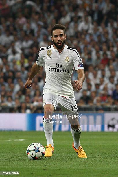 Real Madrid defender Daniel Carvajal in action during the Uefa Champions League semi finals football match REAL MADRID JUVENTUS on 13/05/15 at the...