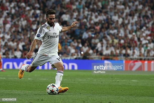 Real Madrid defender Daniel Carvajal shoots for goal during the Uefa Champions League semi finals football match REAL MADRID JUVENTUS on 13/05/15 at...