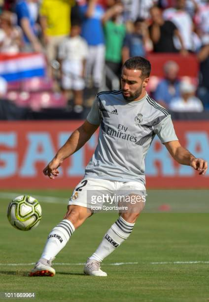 Real Madrid defender Daniel Carvajal warms up prior to an International Champions Cup match between Real Madrid and Juventus on August 4 at FedEx...