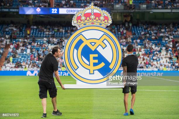 Real Madrid emblem is carried onto the pitch prior to the Santiago Bernabeu Trophy 2017 match between Real Madrid and ACF Fiorentina at the Santiago...