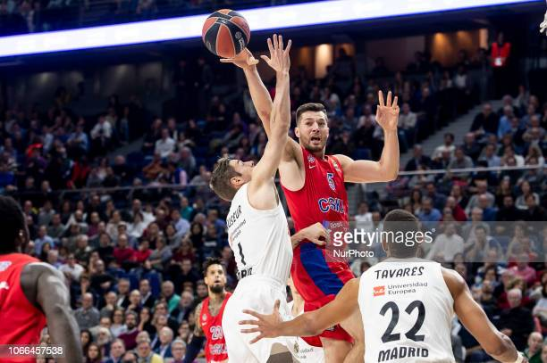 Real Madrid Fabien Causeur and Walter Tavares and CSKA Moscow Alec Peters during Turkish Airlines Euroleague match between Real Madrid and CSKA...