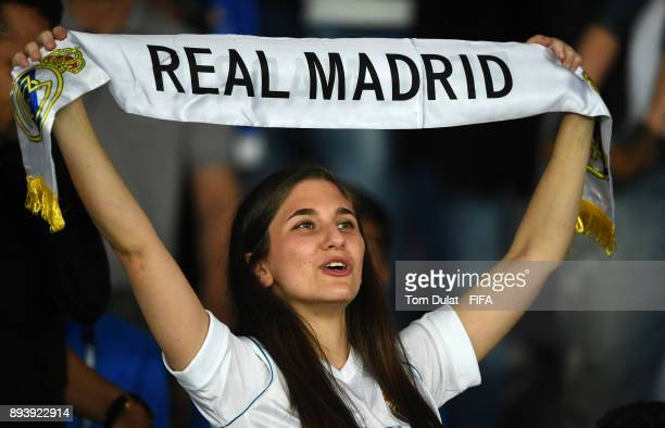 Real Madrid fan celebrates during the FIFA Club World Cup UAE 2017 final match between Gremio and Real Madrid at Zayed Sports City Stadium on...