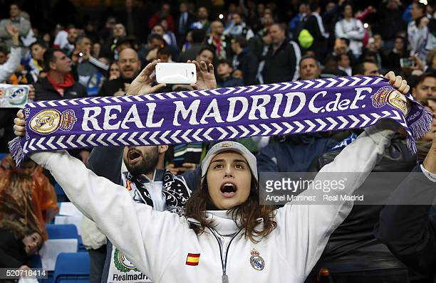 Real Madrid fan cheers his team prior to the UEFA Champions League quarter final second leg match between Real Madrid and VfL Wolfsburg at Estadio...