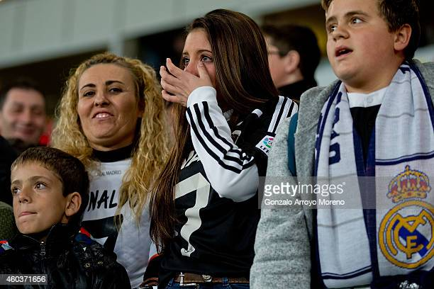 Real Madrid fan wearing a Cristiano Ronaldo tshirts thrills during the team«s warming up before the La Liga match between UD Almeria and Real Madrid...