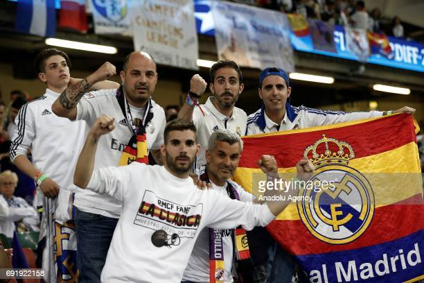 Real Madrid fans are seen ahead of UEFA Champions League Final soccer match between Juventus and Real Madrid at Millennium Stadium in Cardiff Wales...