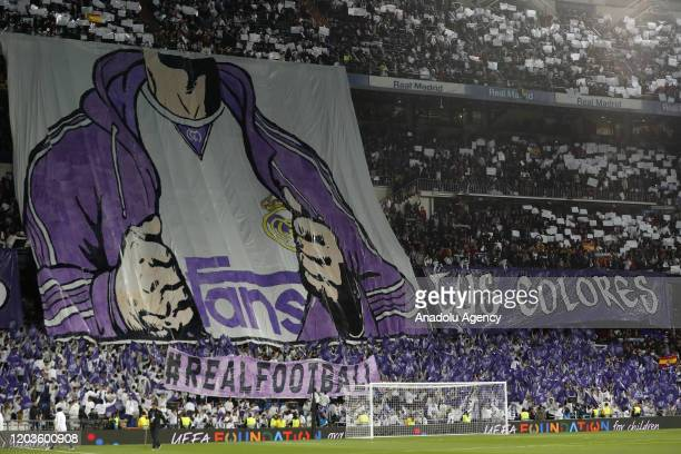 Real Madrid fans are seen during the UEFA Champions League round of 16 first leg soccer match between Real Madrid and Manchester City at Santiago...