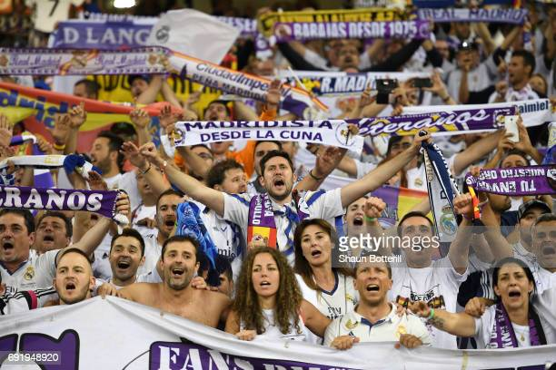 Real Madrid fans celebrate after the UEFA Champions League Final between Juventus and Real Madrid at National Stadium of Wales on June 3 2017 in...