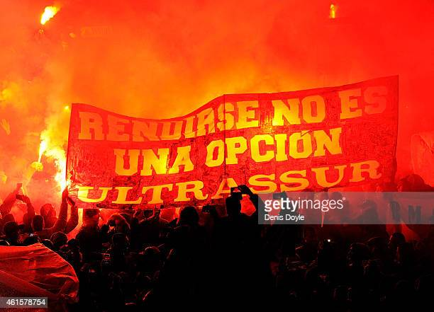Real Madrid fans cheer the arrival of the players bus prior to the Copa del Rey Round of 16 Second leg match at Estadio Santiago Bernabeu on January...