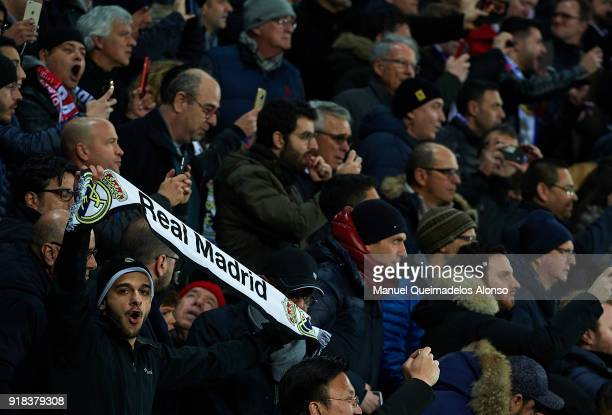 Real Madrid fans cheers during the UEFA Champions League Round of 16 First Leg match between Real Madrid and Paris SaintGermain at Bernabeu on...