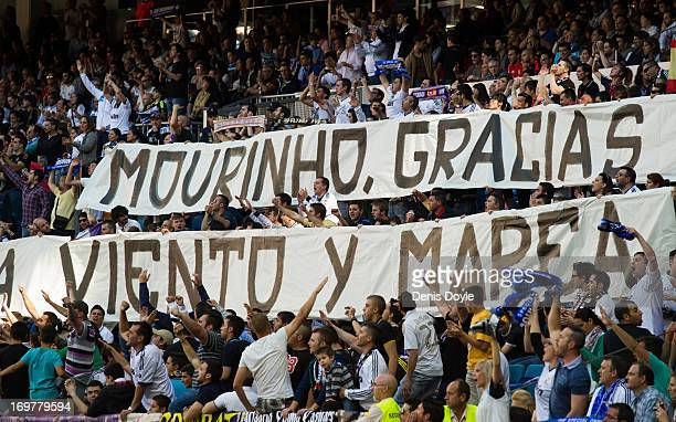 Real Madrid fans display a giant banner thanking head coach Jose Mourinho of Real Madrid during his last La Liga match between Real Madrid CF and CA...