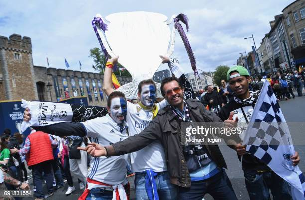 Real Madrid fans enjoy the city centre atmosphere prior to the UEFA Champions League Final between Juventus and Real Madrid on June 3 2017 in Cardiff...