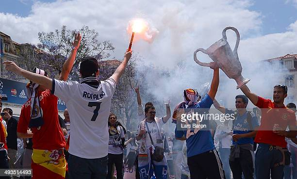 Real Madrid fans gather in the city prior to the UEFA Champions League Final between Real Madrid and Atletico de Madrid at Estadio da Luz on May 24...