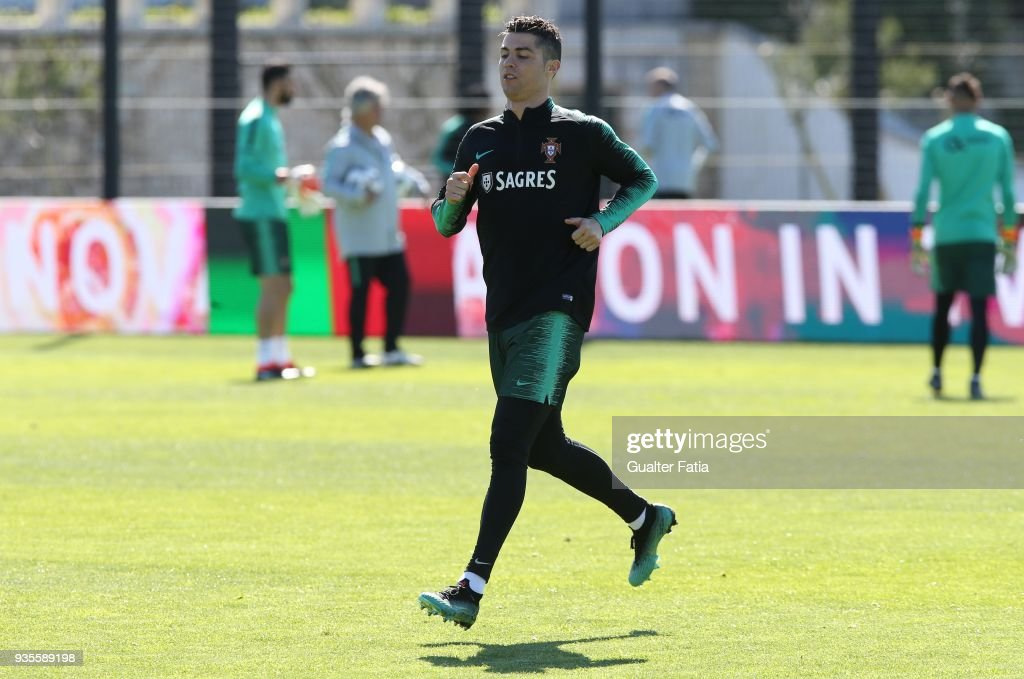 Real Madrid FC and Portugal forward Cristiano Ronaldo in action during Portugal National Team Training session before the friendly matches against Egypt and the Netherlands at FPF Cidade do Futebol on March 21, 2018 in Oeiras (outskirts of Lisbon), Portugal.