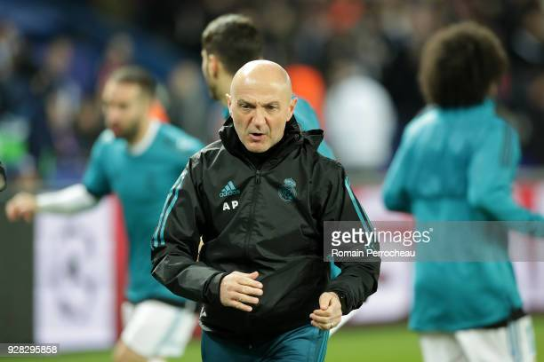 Real Madrid fitness coach Antonio Pintus looks on before the UEFA Champions League Round of 16 Second Leg match between Paris SaintGermain and Real...