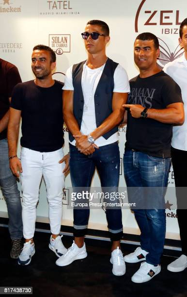 Real madrid fooball player Cristiano Ronaldo and his brother Hugo Aveiro attend the opening of the mediterranean-japanese restaurant Zela, belonging...