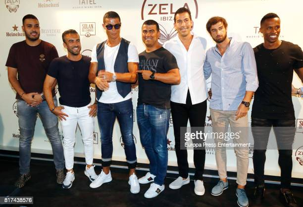Real madrid fooball player Cristiano Ronaldo , his brother Hugo Aveiro and friends attend the opening of the mediterranean-japanese restaurant Zela,...