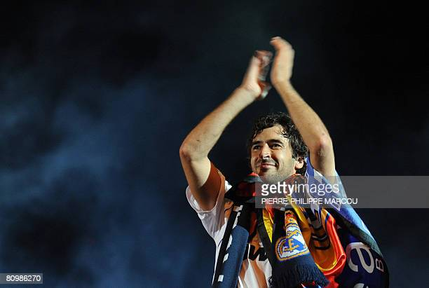 Real Madrid football club's Raul celebrates their 31st league title win in Madrid on May 4 2008 Thousands of Real Madrid fans converged on the famous...