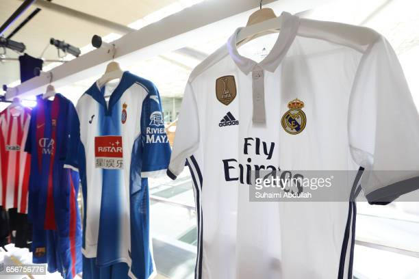 Real Madrid football jersey is on display during the launch of LaLiga at the Supreme Court Terrace, National Gallery Singapore on March 23, 2017 in...