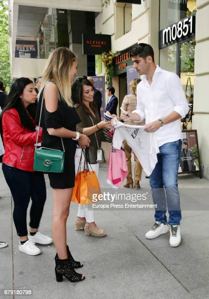 Real Madrid football player Alvaro Morata and Alice Campello are seen leaving 'Alfieri St Johns' inaguration on May 4 2017 in Madrid Spain