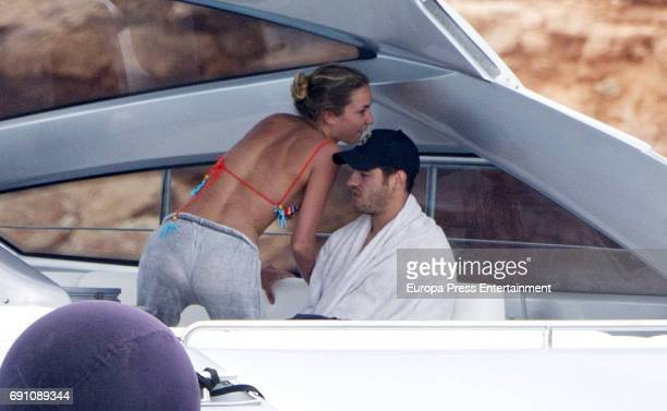 Real Madrid football player Alvaro Morata and Alice Campello are seen on May 29 2017 in Ibiza Spain
