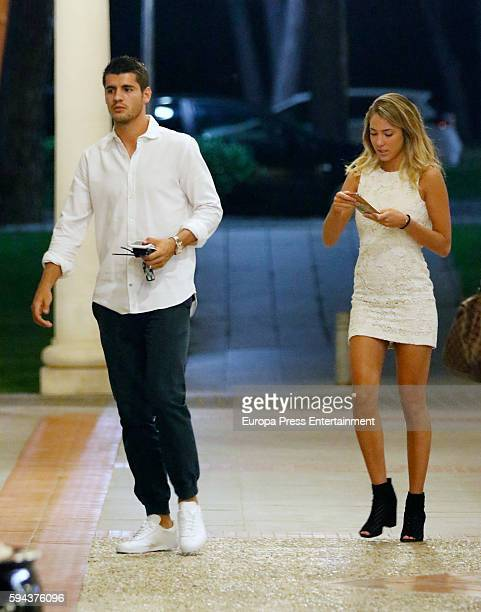 Real Madrid football player Alvaro Morata and his girlfriend Alice Campello are seen on August 22 2016 in Madrid Spain