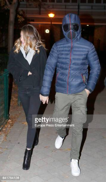 Real Madrid football player Alvaro Morata and his girlfriend Alice Campello are seen leaving a restaurant on January 16 2017 in Madrid Spain The...