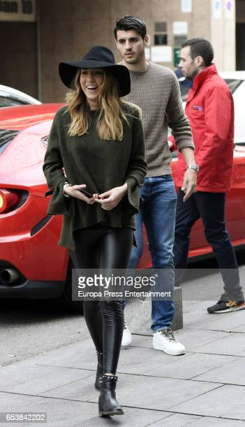 Real Madrid football player Alvaro Morata and his girlfriend Alice Campello are seen arriving at Amazonico restaurant on February 16 2017 in Madrid...