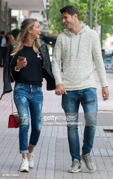 Real Madrid football player Alvaro Morata and his girlfriend Alice Campello are seen leaving a restaurant on April 20 2017 in Madrid Spain