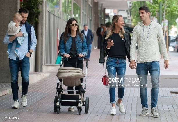 Real Madrid football player Alvaro Morata and his girlfriend Alice Campello and Nacho Fernandez Iglesias and his wife Maria Cortes are seen leaving a...
