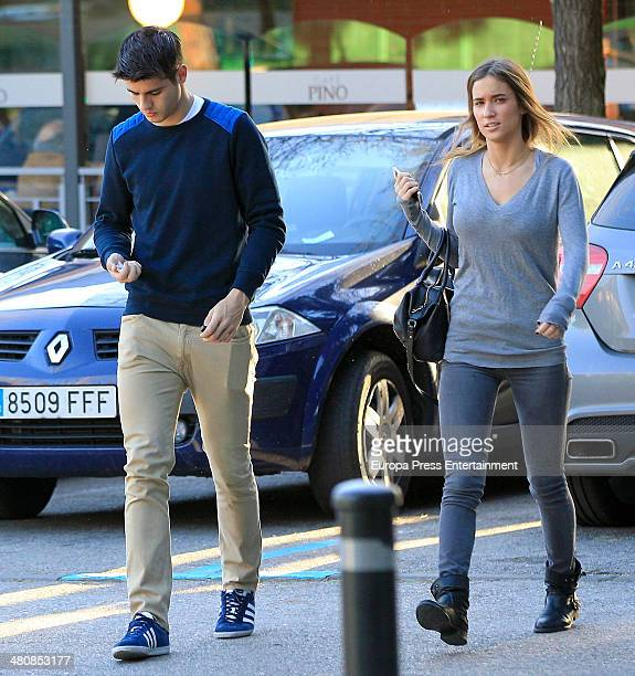 Real Madrid football player Alvaro Morata and his girlfriend Maria Pombo are seen on March 5 2014 in Madrid Spain