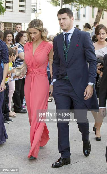Real Madrid Football Player Alvaro Morata and Maria Pombo attend Nacho Fernandez And Maria Cortes Wedding on May 31 2014 in Madrid Spain