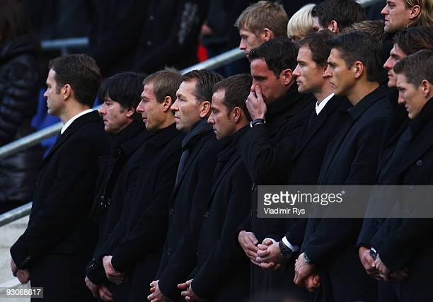 Real Madrid football player Christoph Metzelder fights with tears during Robert Enke's memorial service prior to Enke's funeral at AWD Arena on...