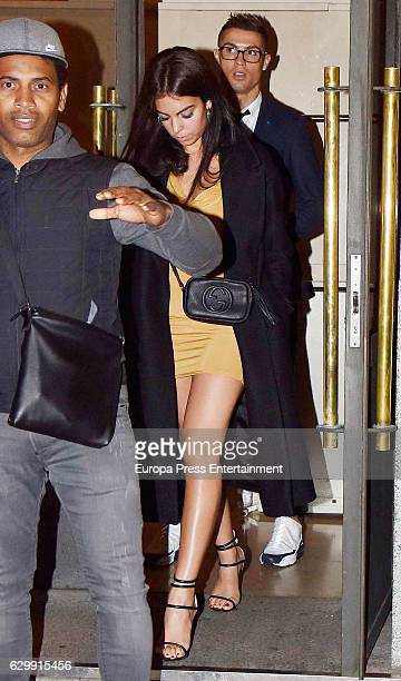 Real Madrid football player Cristiano Ronaldo and Georgina Rodriguez are seen leaving a restaurant on December 10 2016 in Madrid Spain