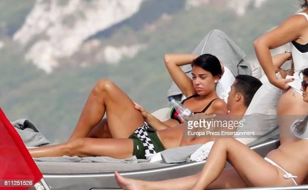 Real Madrid football player Cristiano Ronaldo and Georgina Rodriguez are seen on July 8 2017 in Ibiza Spain