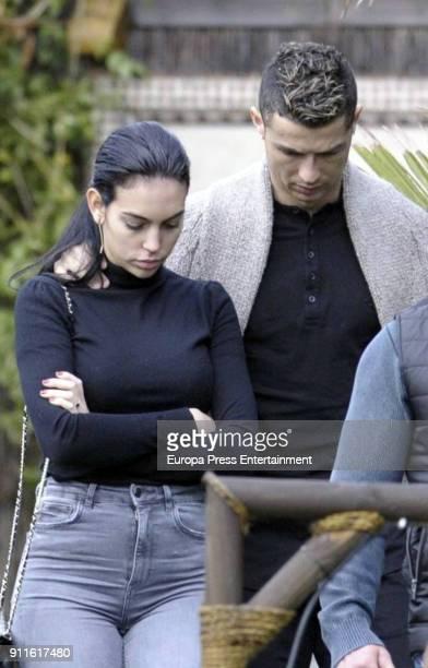 Real Madrid football player Cristiano Ronaldo and Georgina Rodriguez are seen leaving the Marbella Beach Club The day before Georgina Rodriguez...