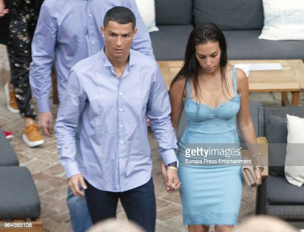 Real Madrid football player Cristiano Ronaldo and Georgina Rodriguez are seen leaving a restaurant on May 30 2018 in Marbella Spain