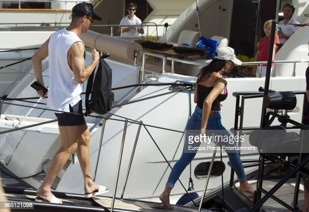 Real Madrid football player Cristiano Ronaldo and Georgina Rodriguez are seen boarding a yacht on June 1 2018 in Marbella Spain