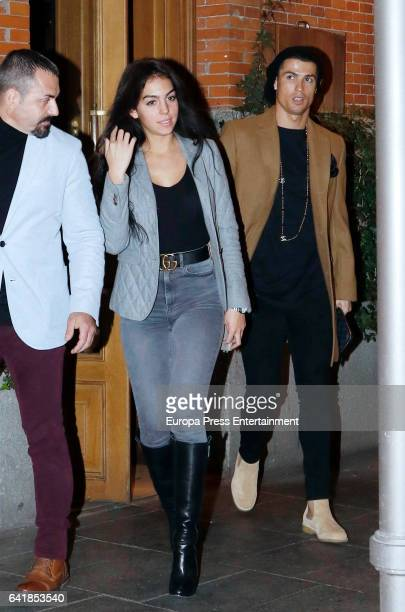 Real Madrid football player Cristiano Ronaldo and his girlfriend Georgina Rodriguez are seen leaving a restaurant on January 30 2017 in Madrid Spain