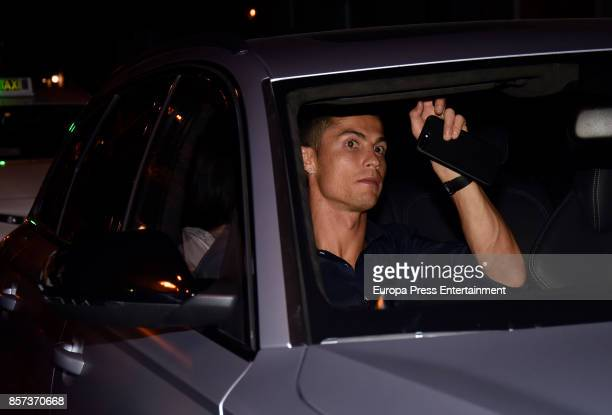 Real Madrid football player Cristiano Ronaldo and his girlfriend Georgina Rodriguez are seen leaving a restaurant on September 13 2017 in Madrid Spain
