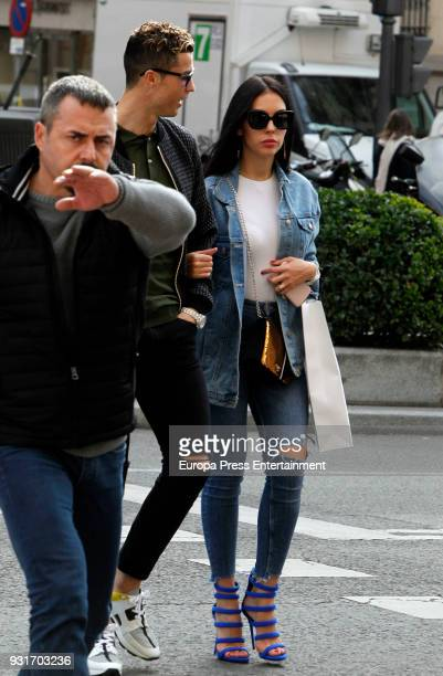 Real Madrid football player Cristiano Ronaldo and his girlfriend Georgina Rodriguez are seen on February 26 2018 in Madrid Spain