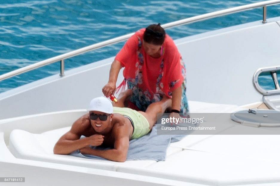 Real Madrid football player Cristiano Ronaldo and his mother Maria Dolores dos Santos Aveiro are seen on July 13, 2016 in Ibiza, Spain.