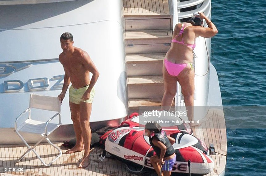 . Real Madrid football player Cristiano Ronaldo and his mother Maria Dolores dos Santos Aveiro are seen on July 13, 2016 in Ibiza, Spain.